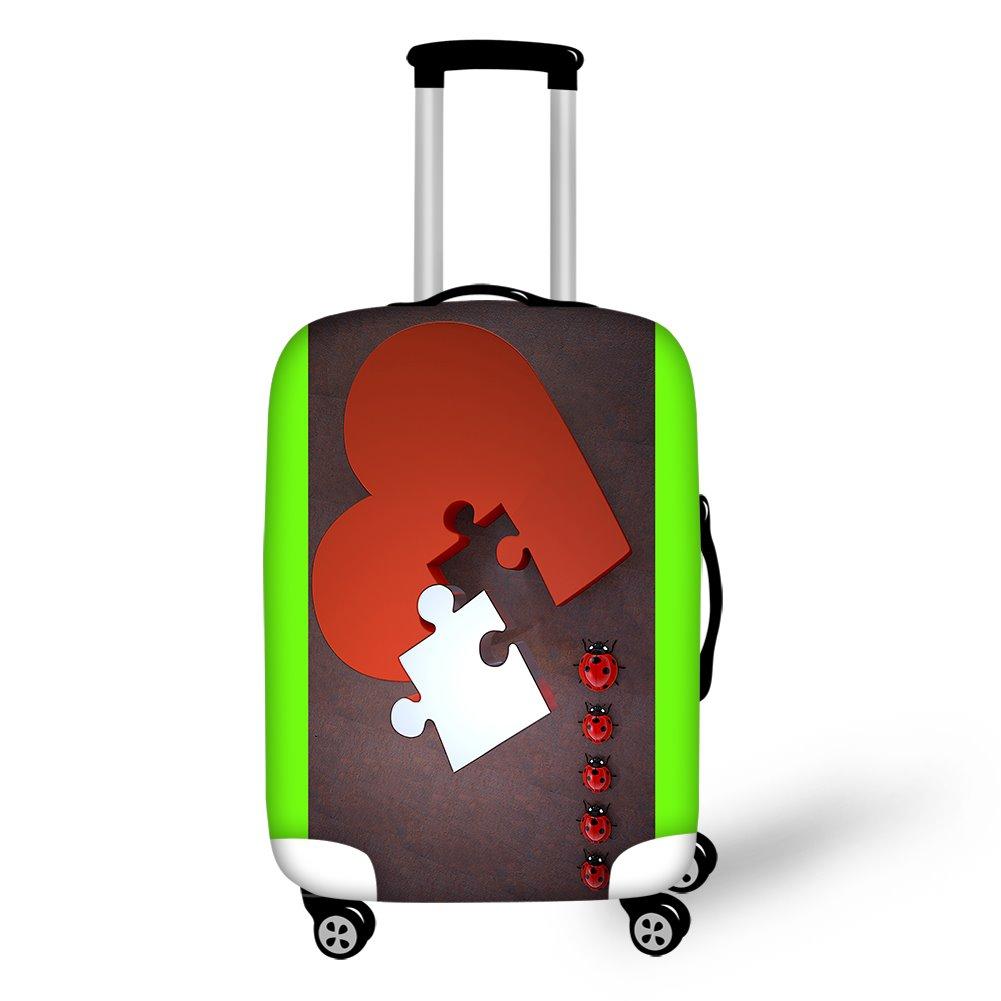 Heart Ladybug Puzzle Spandex Personality Washable 3D Animals Travel Luggage Protective Suitcase Cover