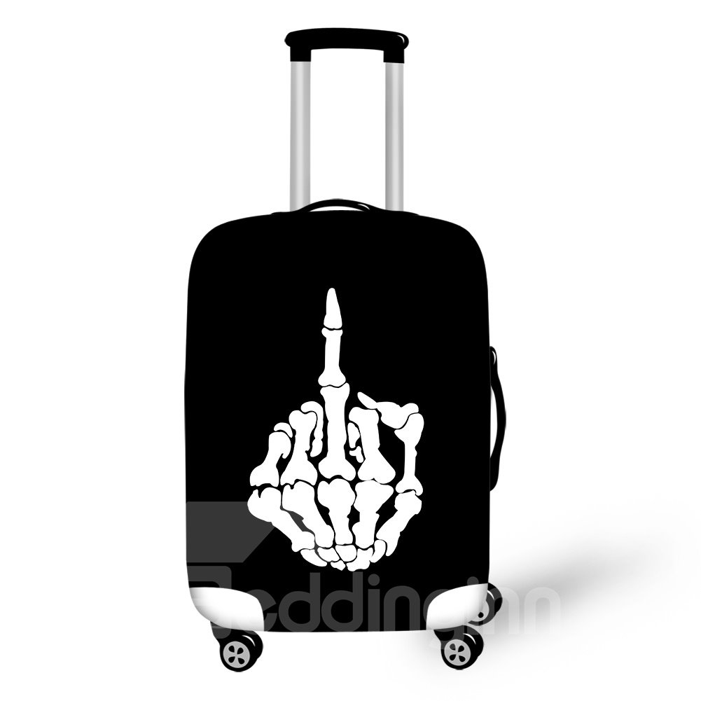 Skeleton Finger FXXK Personality Style Spandex Waterproof Washable 3D Travel Luggage Cover