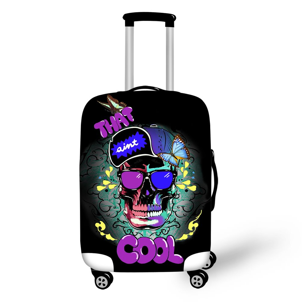 Colorful Skull Head Personality Design 3D Printed Waterproof Luggage Cover