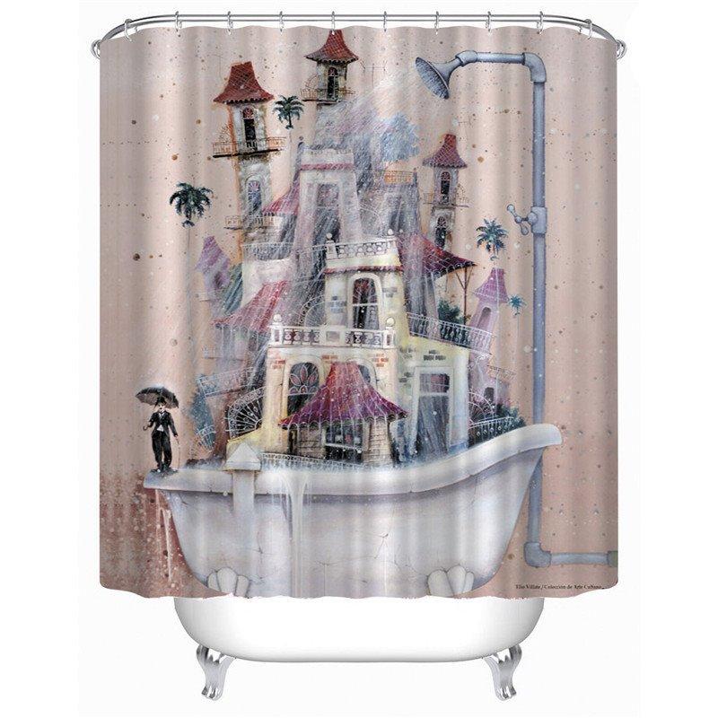 3D Old Bathtub Printed Polyester Light Pink Bathroom Shower Curtain