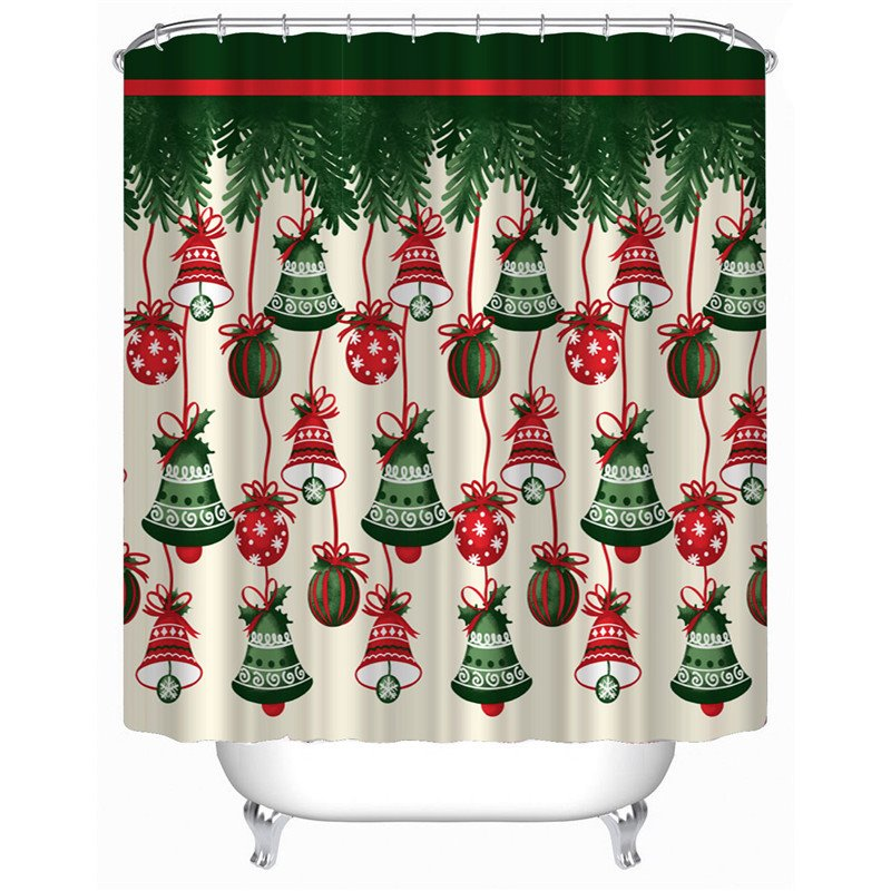 3D Bells and Gifts Printed Polyester Christmas Bathroom Shower Curtain
