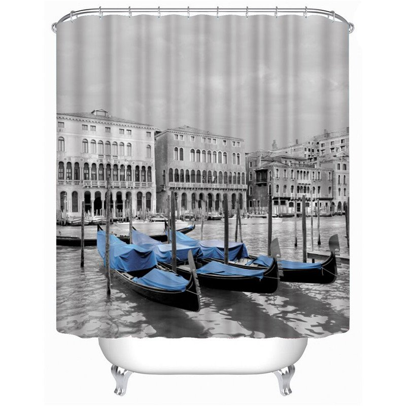 3D Blue Boat in River Printed Polyester Gray Bathroom Shower Curtain