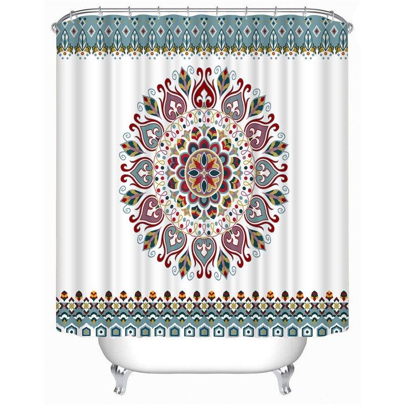 3D Geometric Flowers Printed Polyester White Bathroom Shower Curtain
