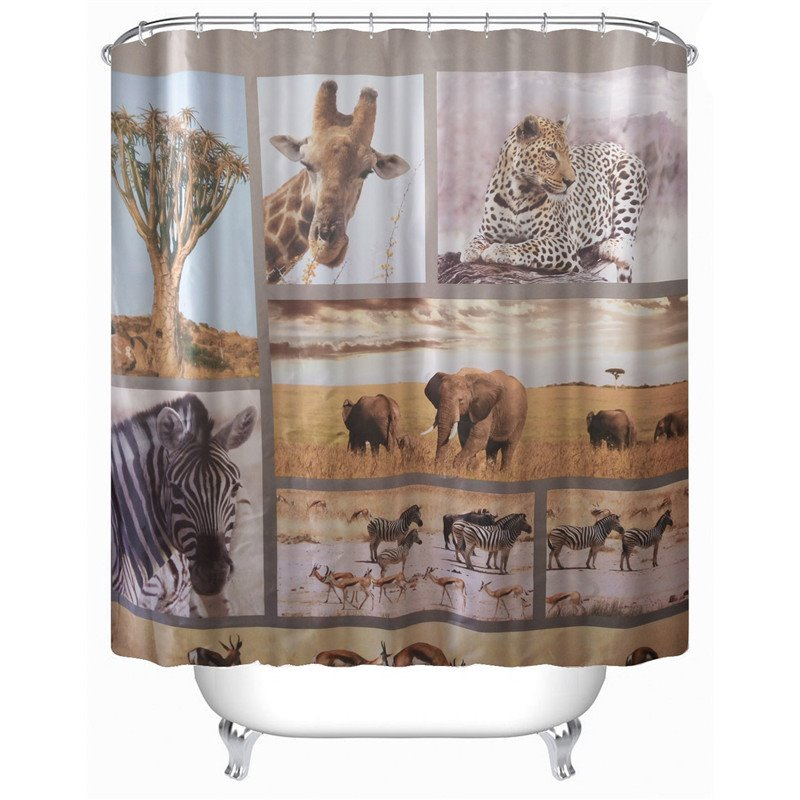 3D Animal World Printed Polyester Bathroom Shower Curtain