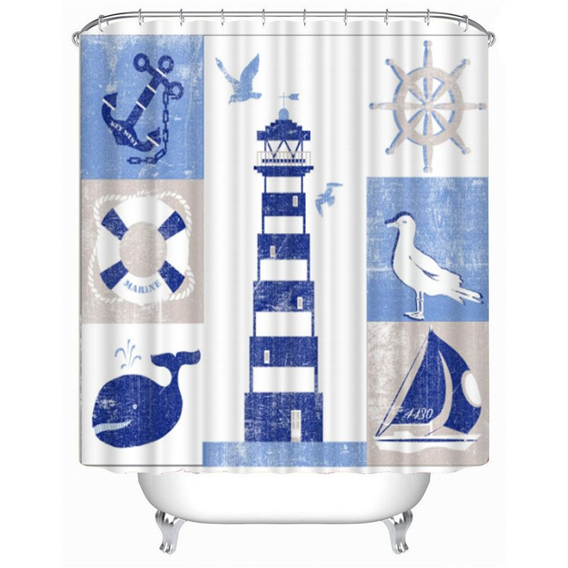 3D Lighthouse Printed Polyester White Bathroom Shower Curtain