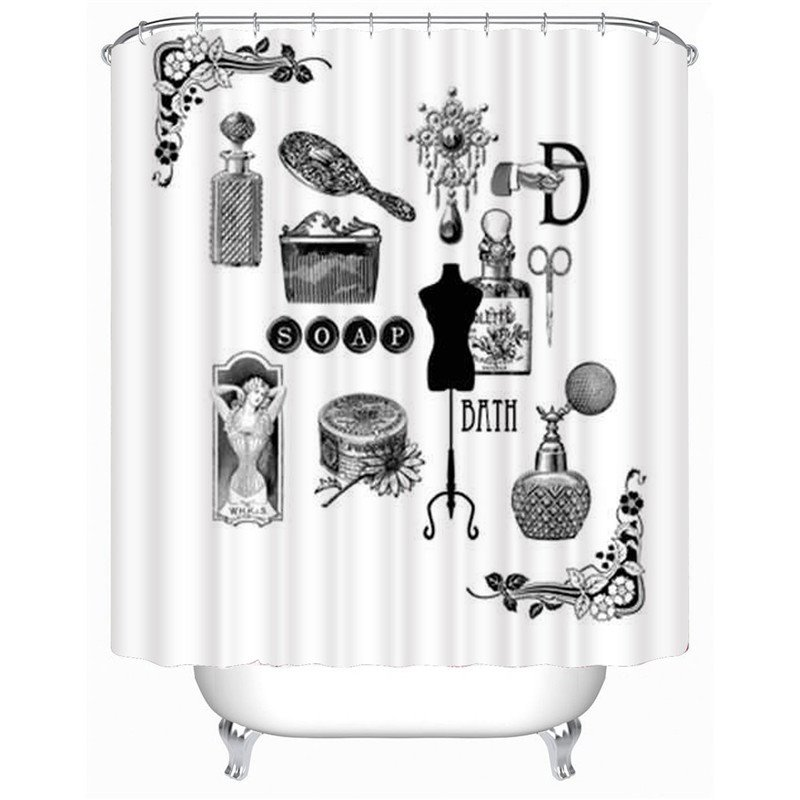 3D Bathroom Items Printed Polyester Bathroom Shower Curtain