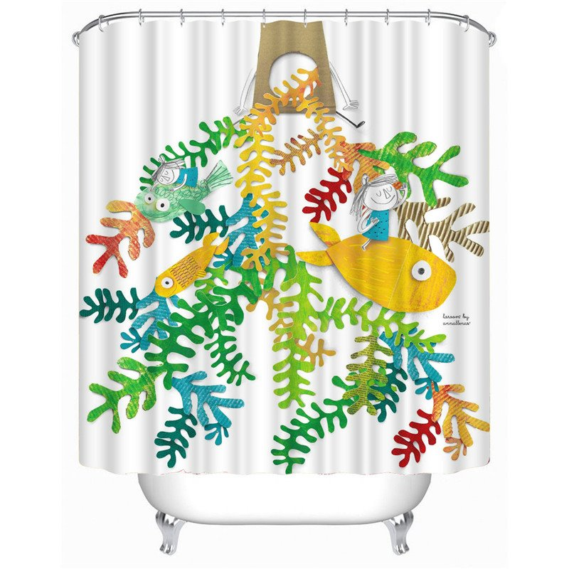 3D Cartoon Fish and Girl Printed Polyester Bathroom Shower Curtain