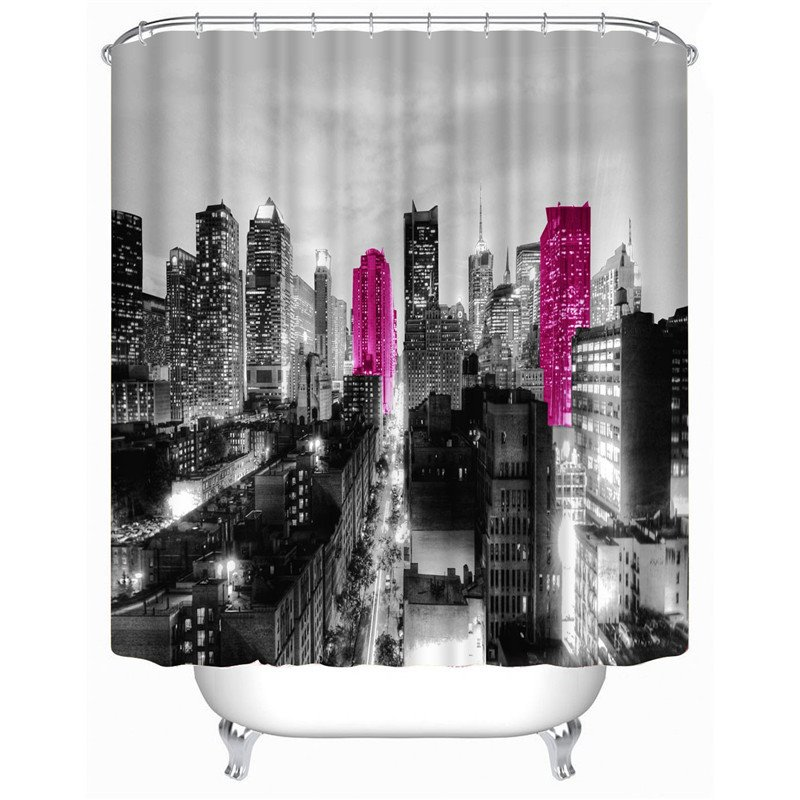 3D Night City Printed Polyester Bathroom Shower Curtain