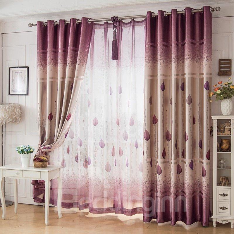 Ventilate Purple Tree and Leaves Printed Custom Sheer Curtain