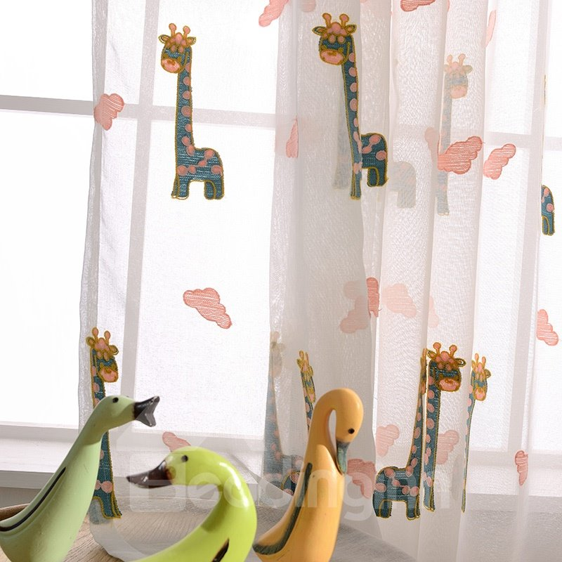 Embroidery Giraffe Pattern Polyester Cute Style Kids Sheer Curtain