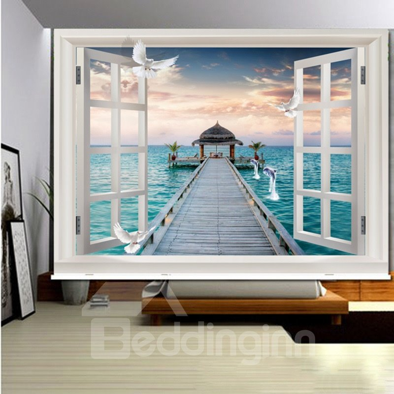 Straight Bridge on the Sea outside the Window 3D Printed Roller Shades
