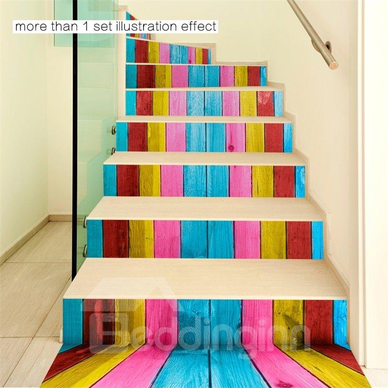 Colorful Bars 6-Piece 3D PVC Waterproof Stair Mural