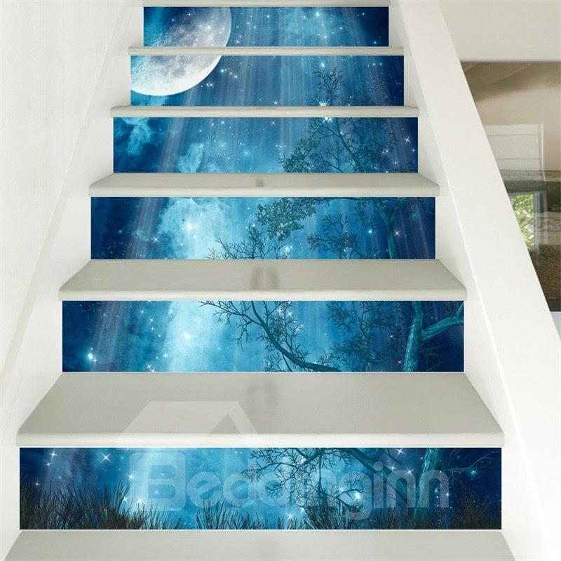 Blue Star Sky 6-Piece 3D PVC Waterproof Stair Mural