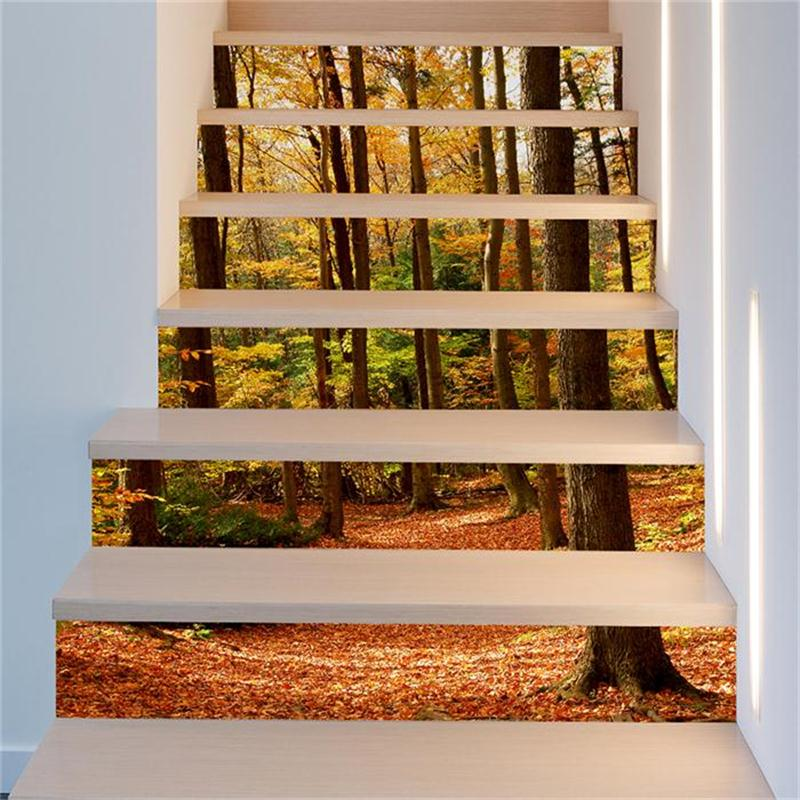 Yellow Forest 6-Piece 3D PVC Waterproof Stair Mural