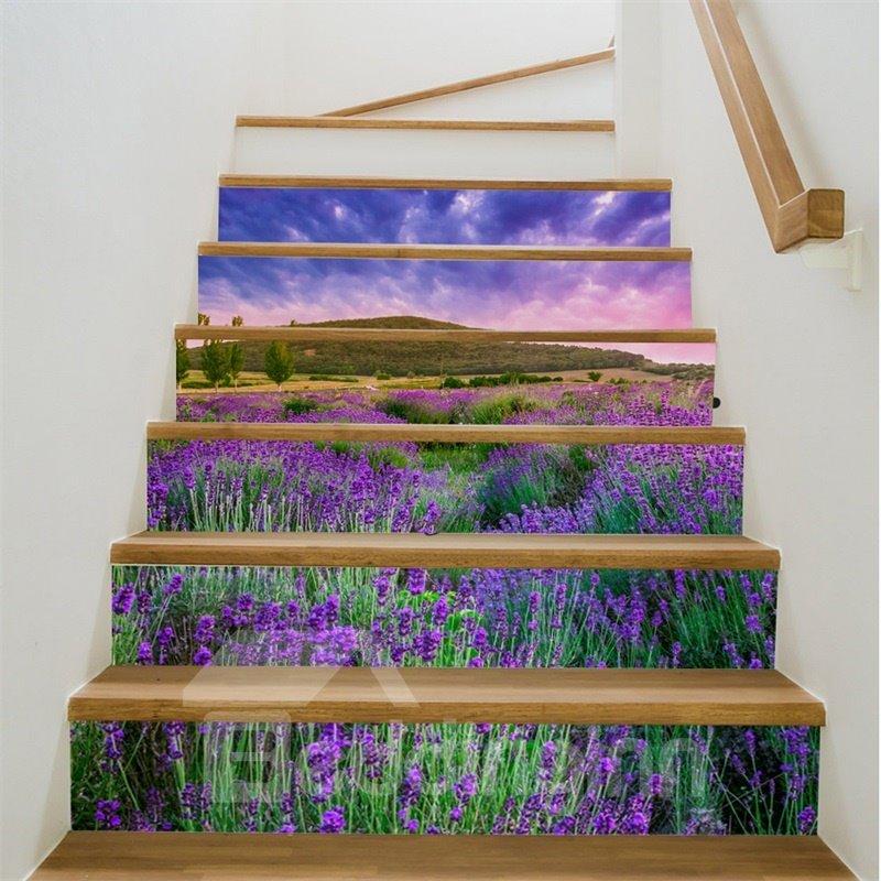 Purple Sky and Lavender 6-Piece 3D PVC Waterproof Stair Murals