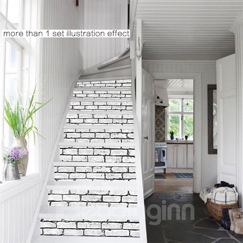 White Bricks Pattern 6 Piece 3d Pvc Waterproof Stair Mural