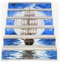 Yacht Sailing on The Sea 6-Piece 3D PVC Waterproof Stair Mural
