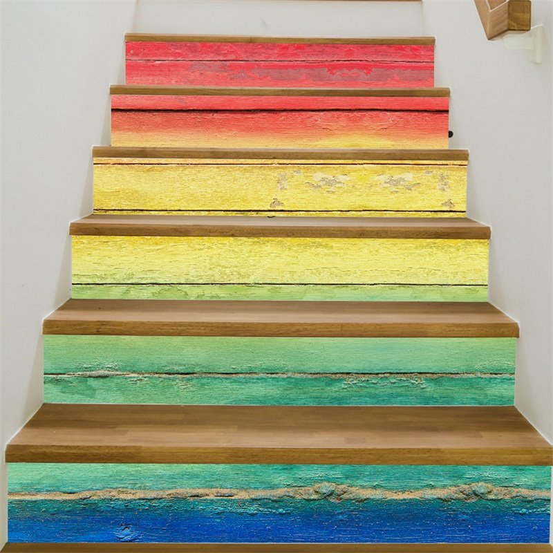 Colorful Rainbow Pattern 6-Piece 3D PVC Waterproof Stair Mural