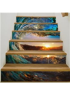 Sea Tide and Fascinating Sunset 6-Piece 3D PVC Waterproof Stair Mural