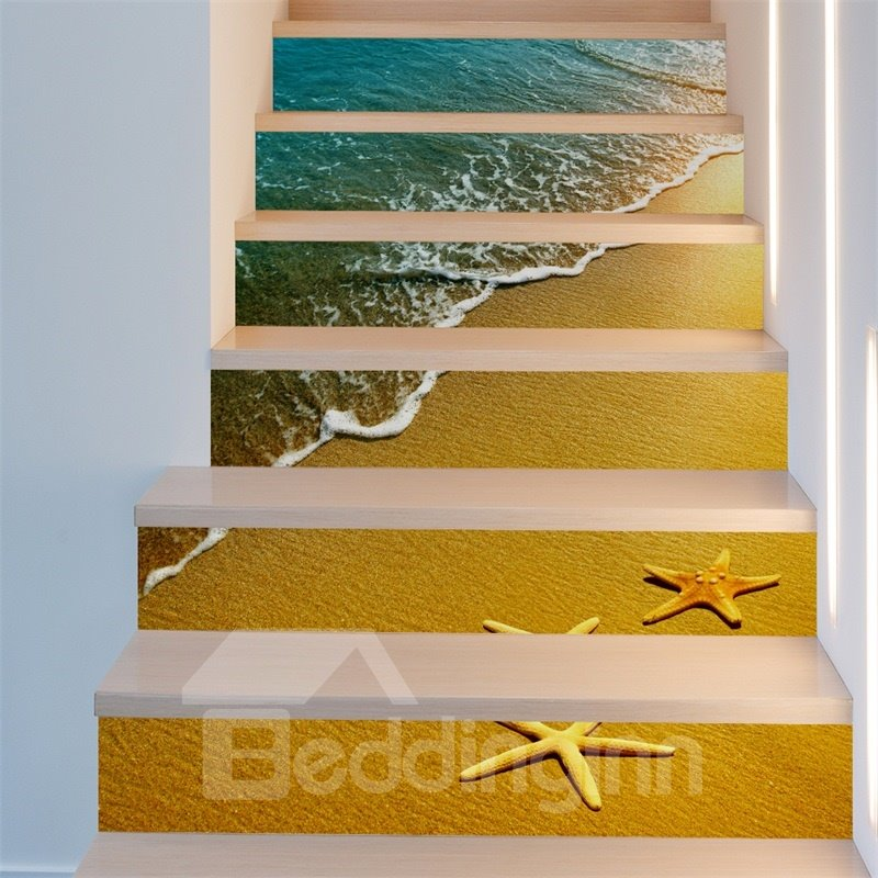Sea Wave and Starfish Home Decorative 6-Piece 3D PVC Waterproof Stair Mural