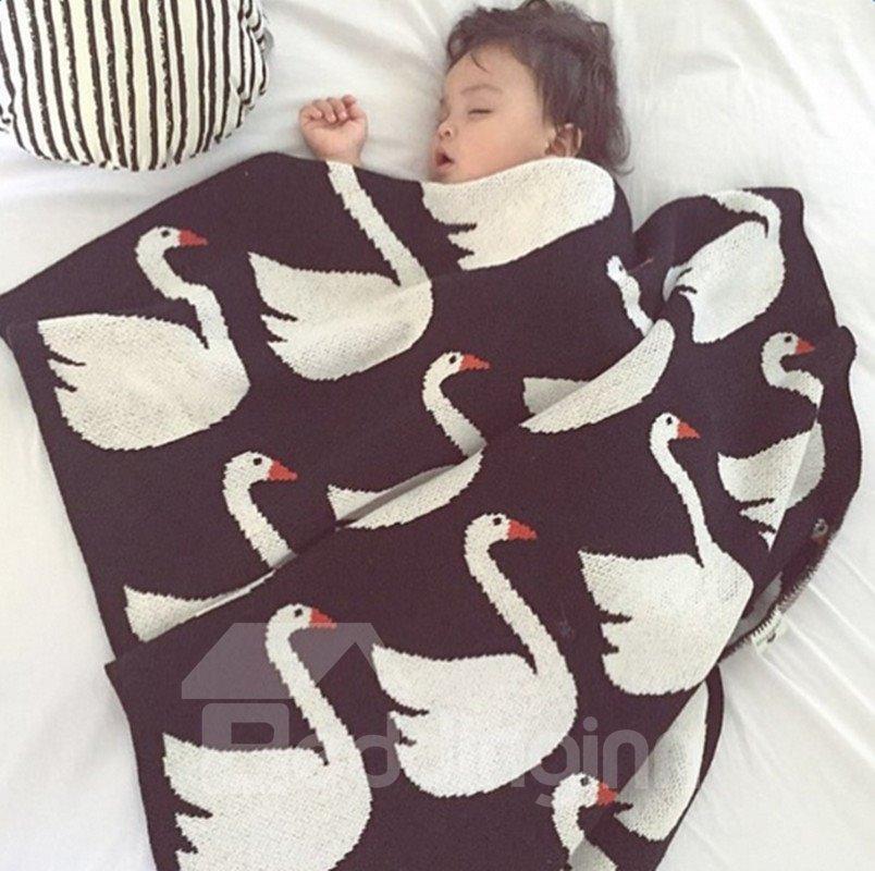 White Swan Pattern Wool Black Baby Blanket