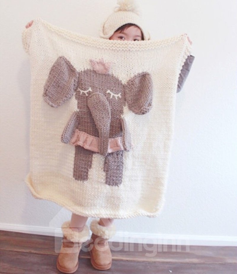 Elephant Pattern Wool Nordic Style White Baby Blanket