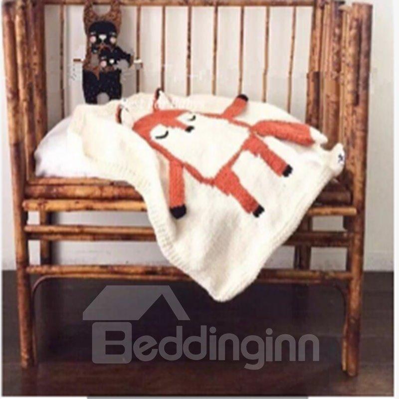 Fox Pattern Wool Nordic Style White Baby Blanket