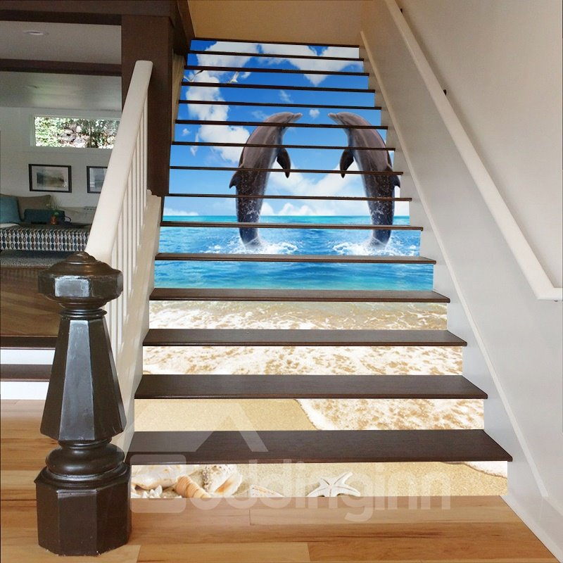 Jumping Dolphins and Heart-Shaped Background 3D Waterproof Stair Murals