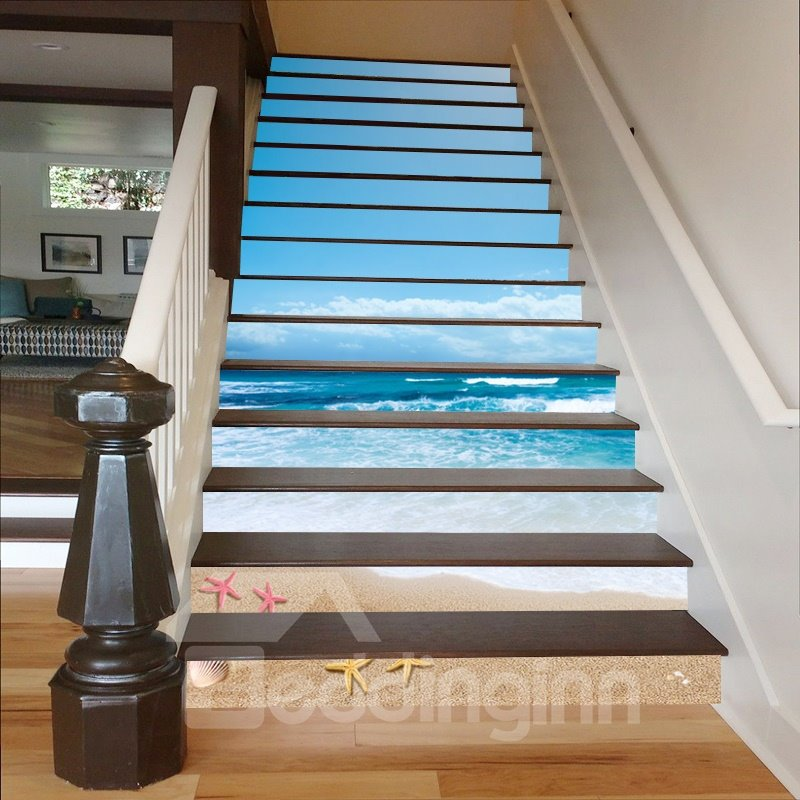 Blue Sky and Sea Starfishes on The Beach 3D Waterproof Stair Murals