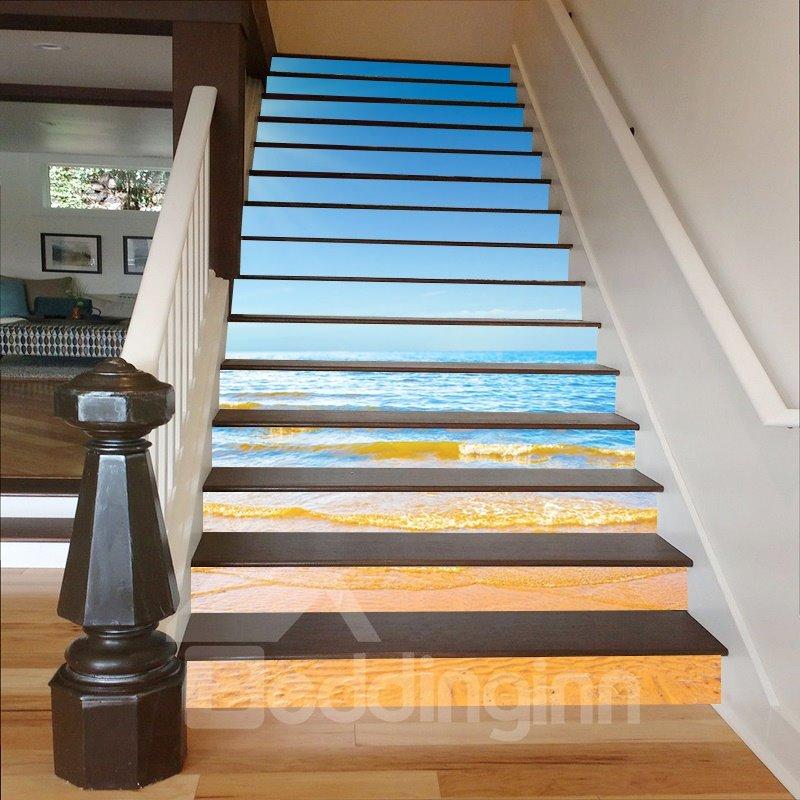 Blue Sea and Beach 3D Waterproof Stair Murals