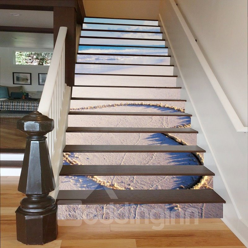 Heart Shape Drawn on The Beach 3D Waterproof Stair Murals
