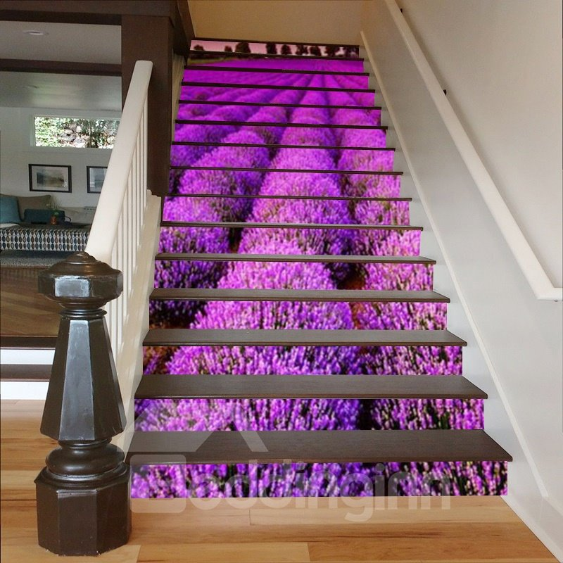 Purple Lavenders 3D Waterproof DIY Stair Murals