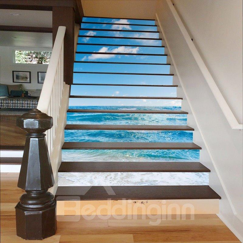 41 Blue Sea And Sky 3D Waterproof DIY Stair Murals