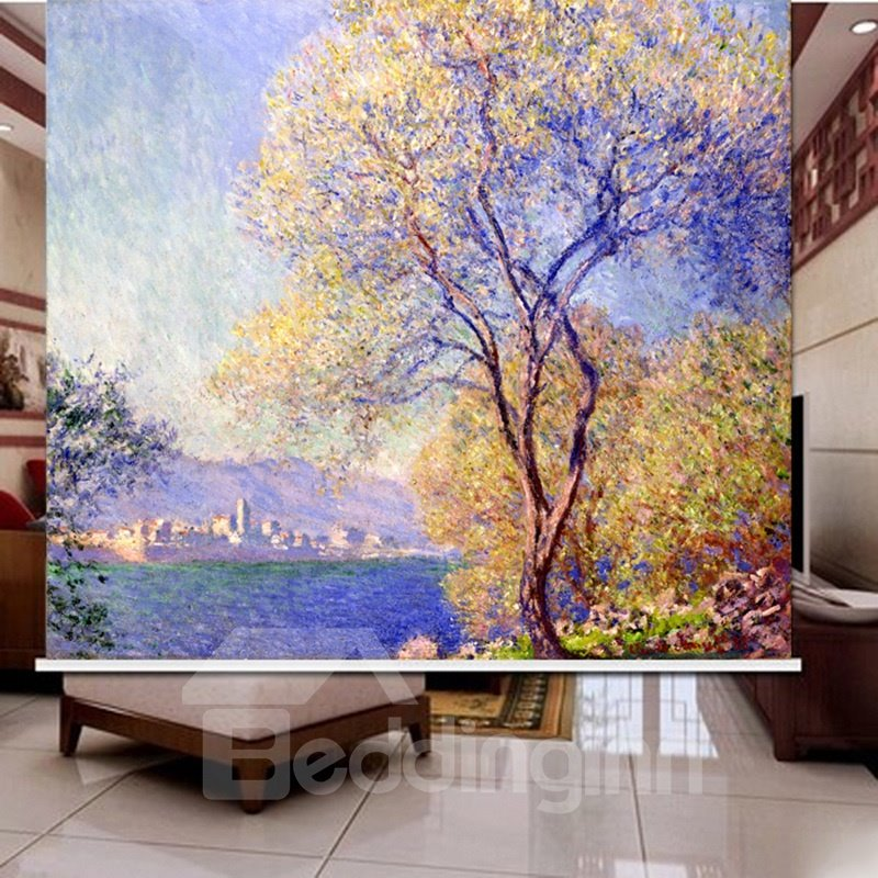 3D Purple Lavender and Yellow Trees Printed Blackout Roller Shades