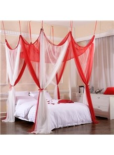 White and Red Gypsy Style Polyester Eight Corner Bed Canopy