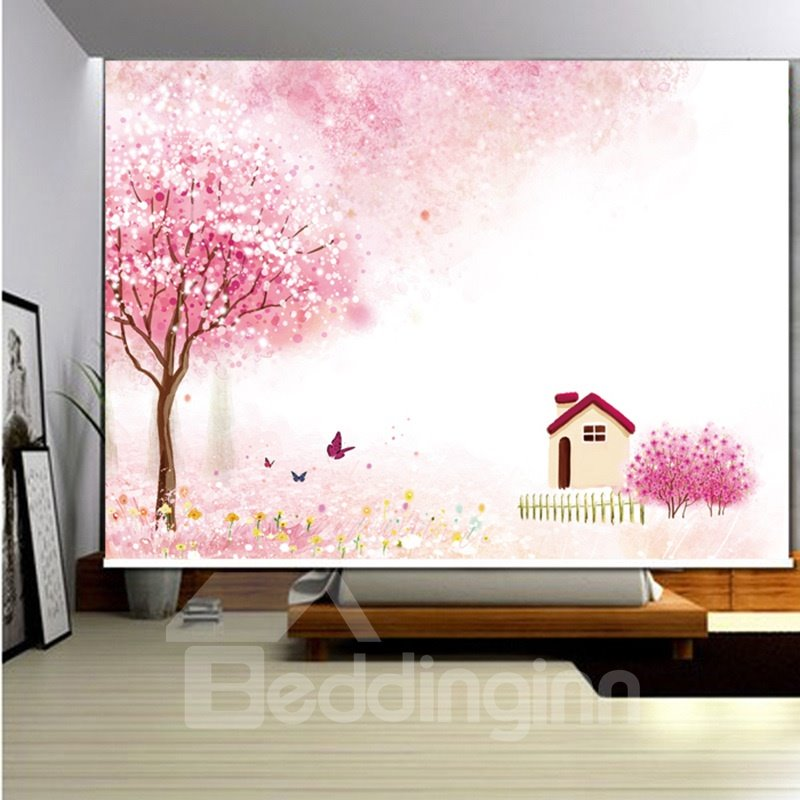 3D Butterflies with Small House and Trees Printed Pink Style Roller Shades