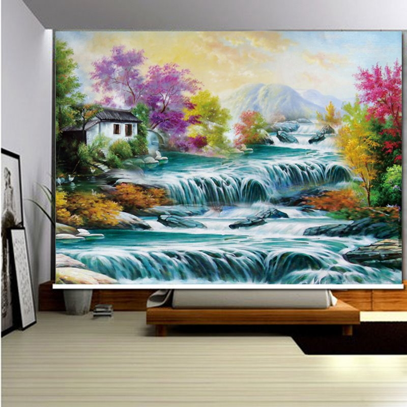 3D Printed River and Trees Nutural Style Room Curtain Blackout Roller Shades