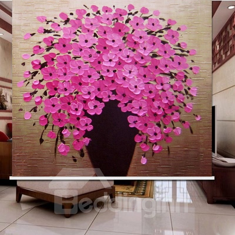 3D Pink Blooming Tree Printed Simple Design Blackout Roller Shades