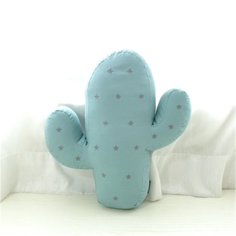Embroidery Cactus Shape Plush Blue Baby Throw Pillow
