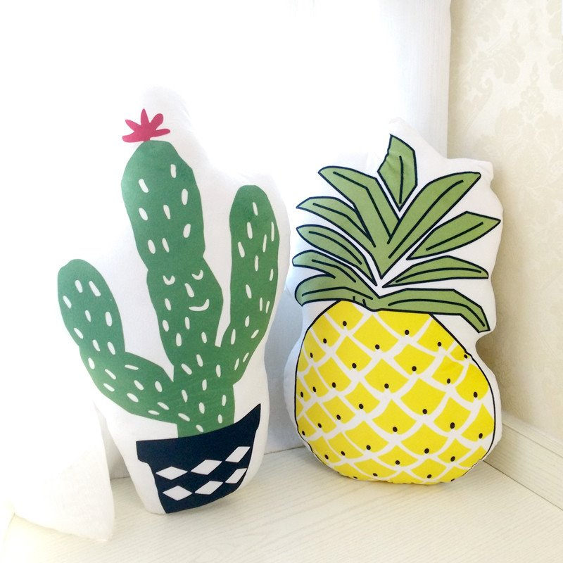 Pineapple and Cactus Shape Plush White Baby Throw Pillow