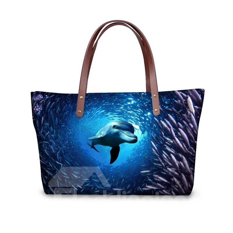 Sea World Waterproof Dolphin Animals 3D Printed HandBags