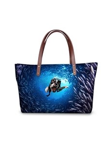 Sea World Waterproof Crazy Dog Animals 3D Printed HandBags