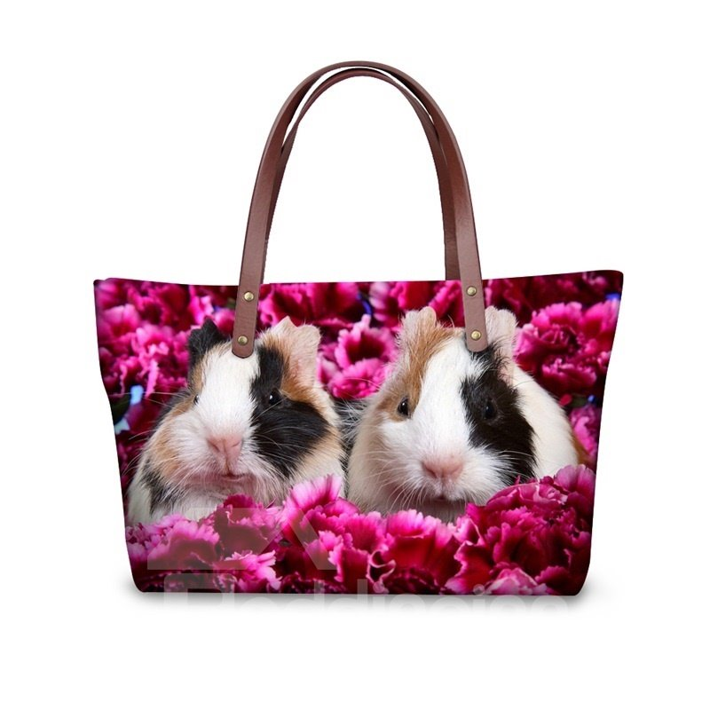 Couple Guinea Pig Floral Waterproof Sturdy 3D Printed for Women Girls Shoulder HandBags