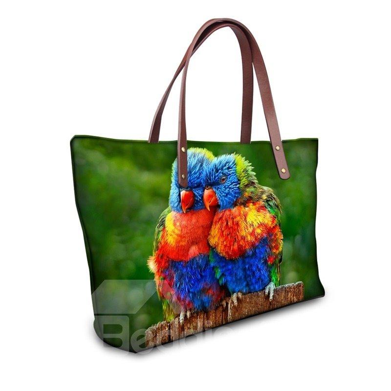 Sweetie Couple Colorful Parrot Waterproof Sturdy 3D Printed for Women Girls Shoulder HandBags