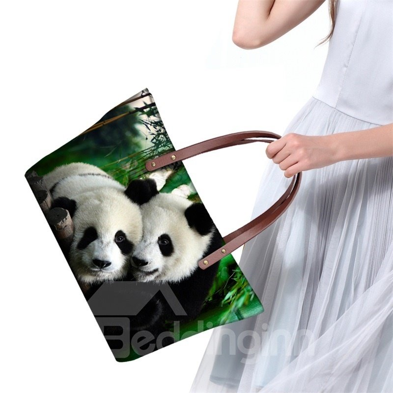 Adorable Cute Twin Pandas Waterproof Sturdy 3D Printed for Women Girls Shoulder HandBags