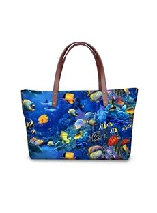The World of Ocean Waterproof Sturdy 3D Printed for Women Girls Shoulder HandBags