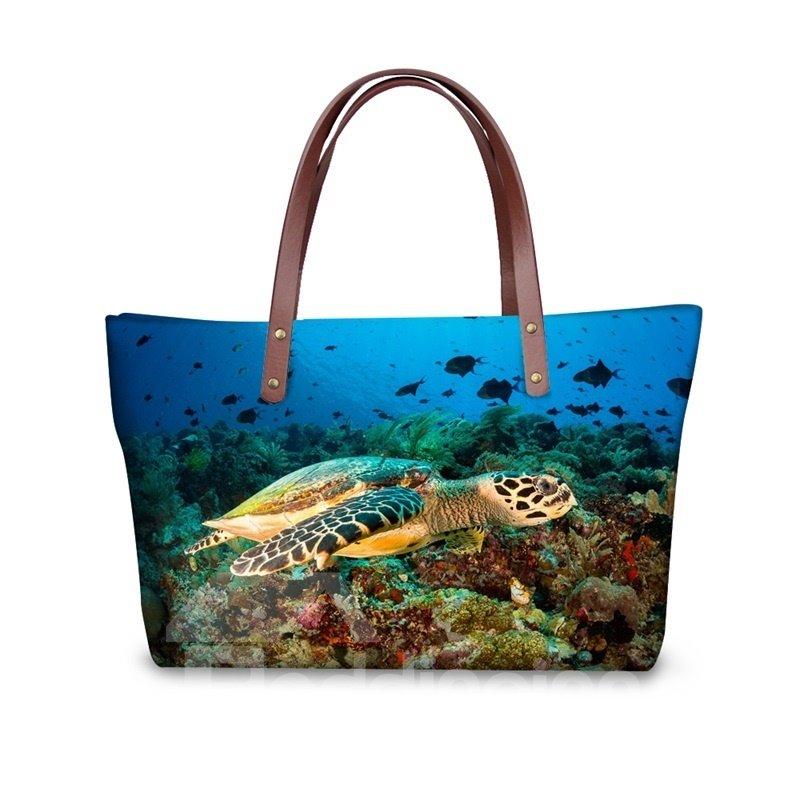 Turtles Freedom in the Sea Waterproof Sturdy 3D Printed for Women Girls Shoulder HandBags