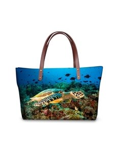 Turtles Freedom in the Sea Waterproof Sturdy 3D Printed for Women Girls Shoulder HandBags
