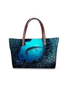 Big Shark with Little Fish Waterproof 3D Printed for Women Girls Shoulder HandBags