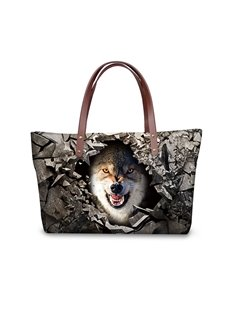 Ferocious Wolf Sharp Tooth 3D Printed for Women Girls Shoulder HandBags